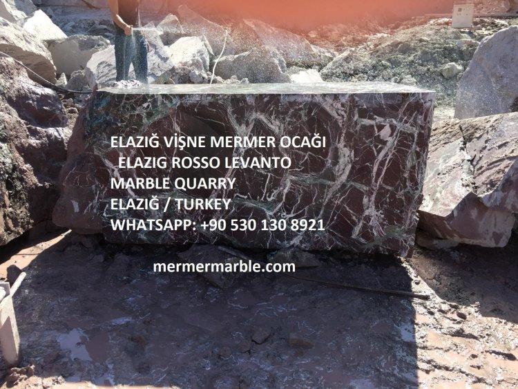 elazığ vişne mermer, rosso levanto marble